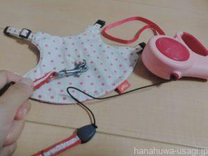 うさぎ用ハーネスの紐と犬用伸縮リードを付け替えた様子